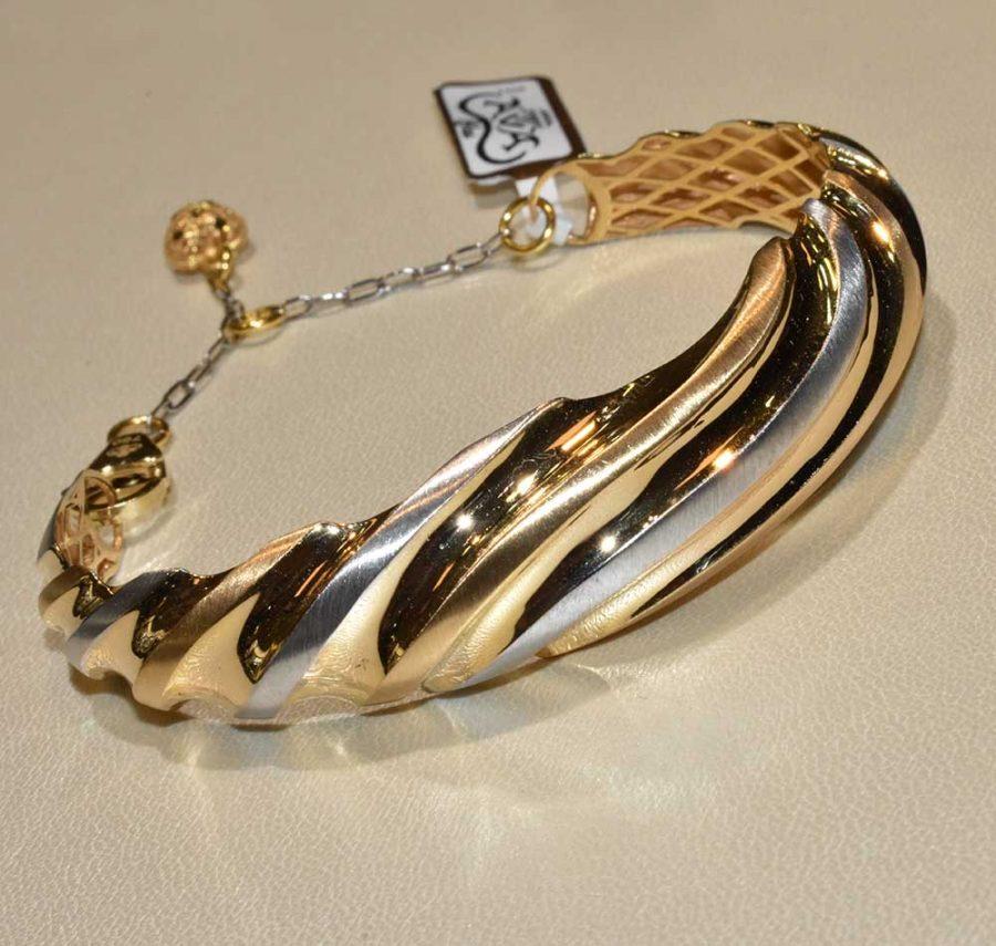 دستبند طلا آوا زرد و سفید
