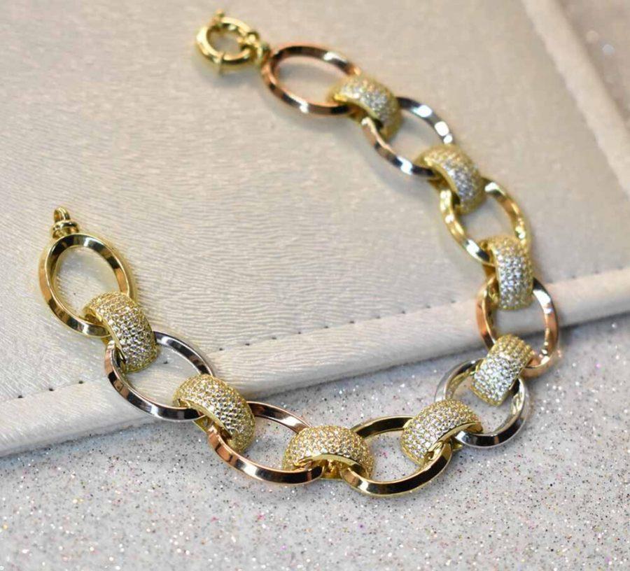 دستبند طلا جتاش سه رنگ