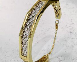 دستبند النگویی طلا زرد و سفید